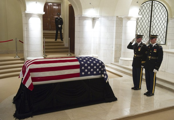 The casket of US Army Corporal Frank Buc