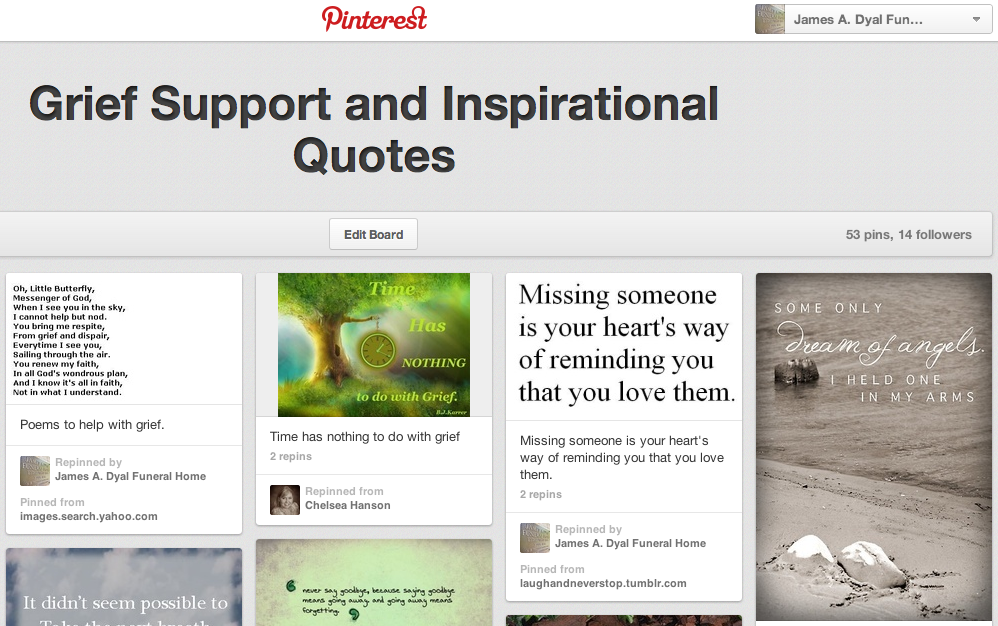 5 Resourceful Grief and Inspiration Pinterest Boards | Connecting