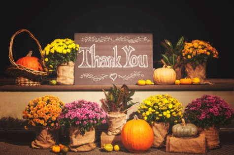 A thank you display with chalk board