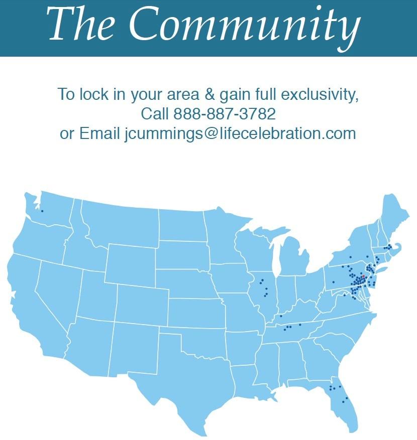 Life Celebration Community Member Location Map