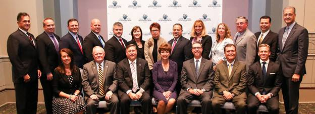 "2016-2017 Funeral Service Foundation Board of Trustees (front row, l-r): NFDA CEO Christine Pepper, Chair-elect Bob Arrington, Chair Bill Wappner, Foundation Executive Director Danelle O'Neill, Secretary Treasurer Stephen Gackenbach, Immediate Past President Gerard ""Jerry"" Schoen III and Chris Trainor. Back row (l-r): Dave McComb, David Mullen, Jim Breaux, Randy Schoedinger, Justin Baxley, Kim Medici Shelquist, Joan Billman, Victor March, Stephanie Kann, Sheri Richardson Stahl, Robert Biggins, Anthony Guerra and Jay Dodds."