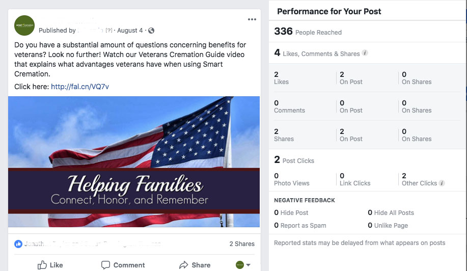 Helping Families Honor Veterans Post Example