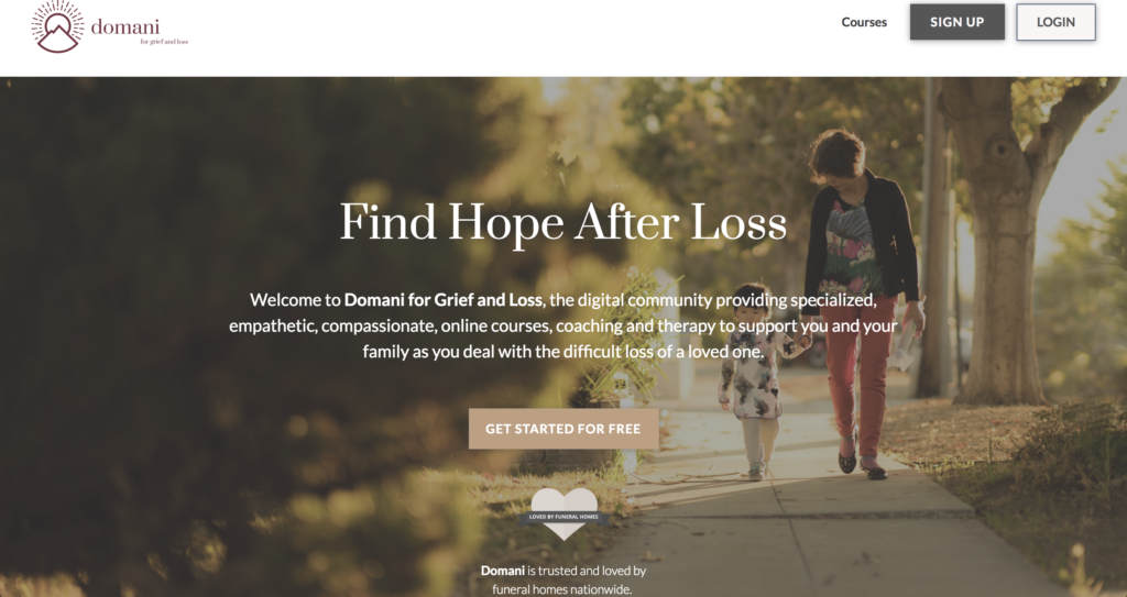 Domani for Grief Homepage