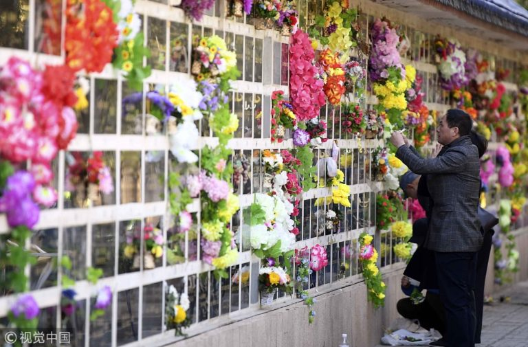 Flowers covering one of China's columbarium