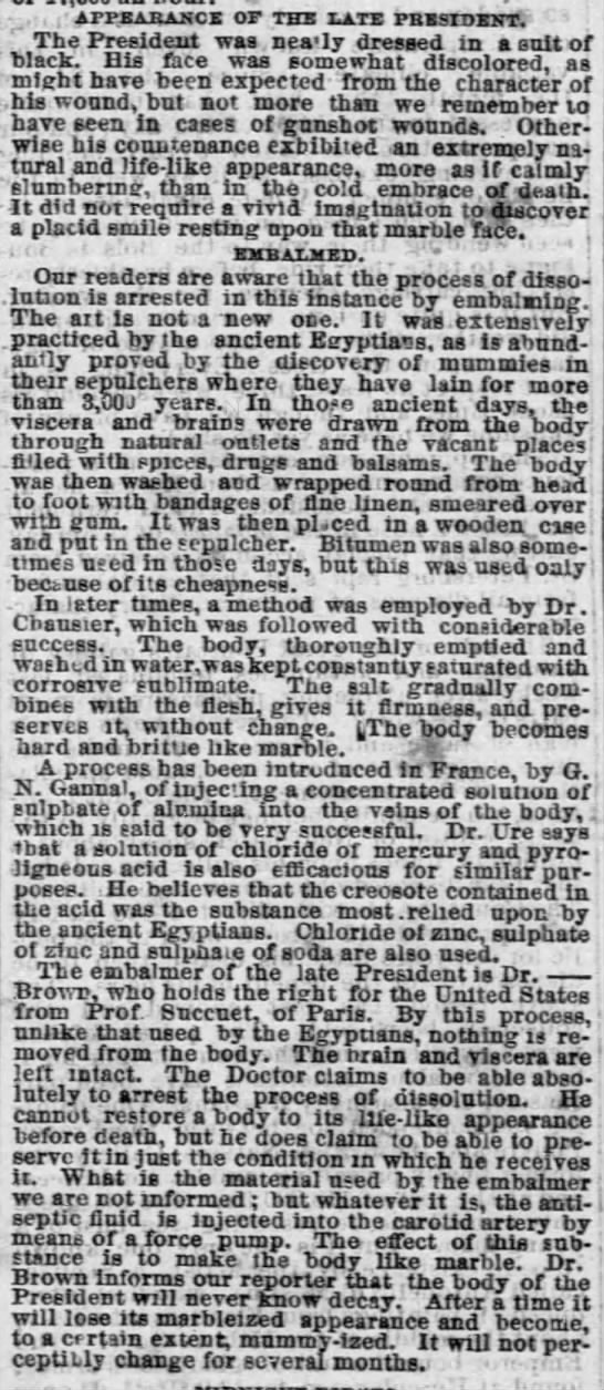 Lincoln Appearance Chicago Tribune 02 May 1865