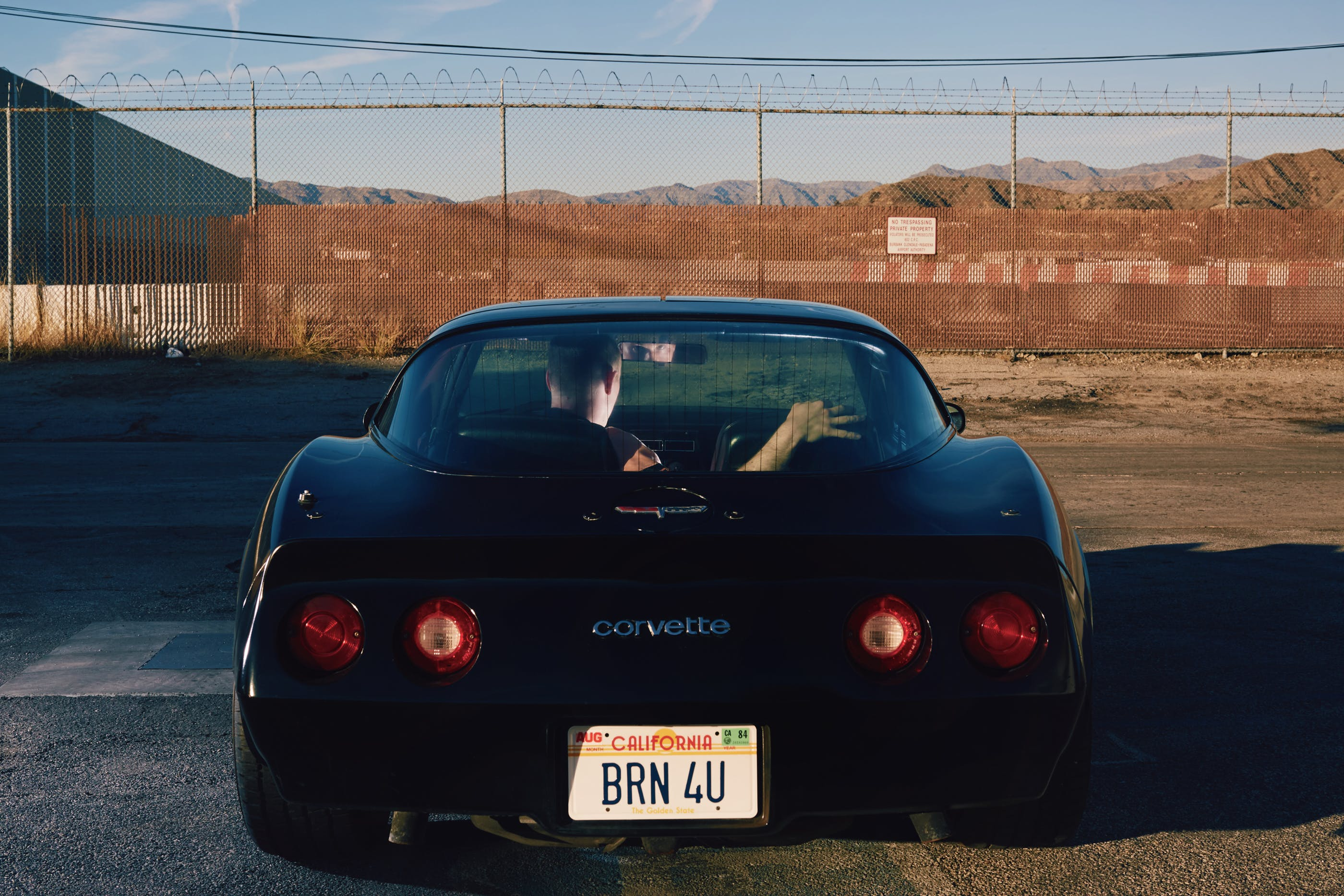 David Sconce Corvette with I Burn 4 U tag