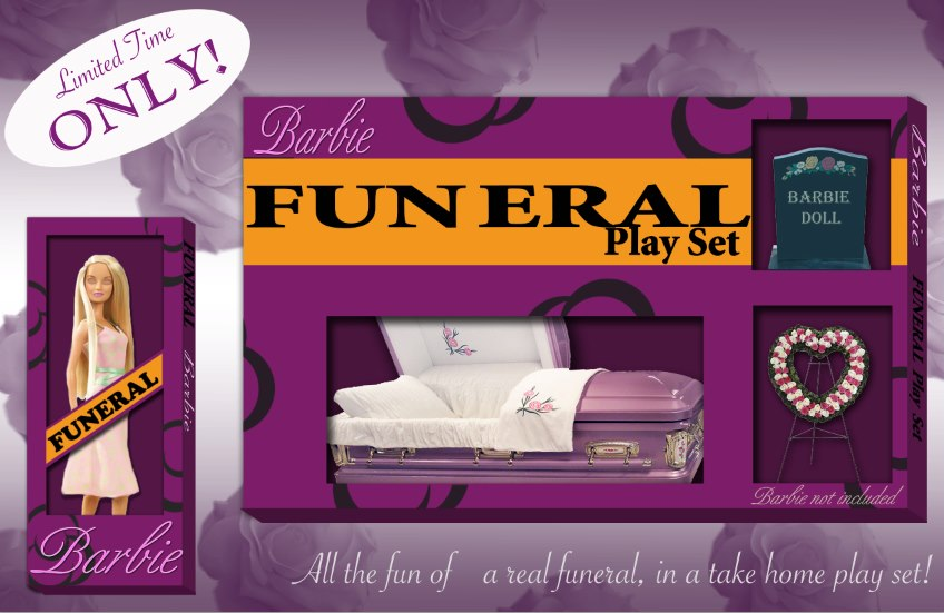 Fake Barbie Funeral Play Set