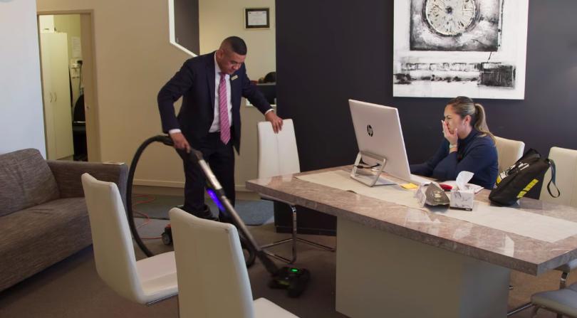 Casketeers Francis vacuuming