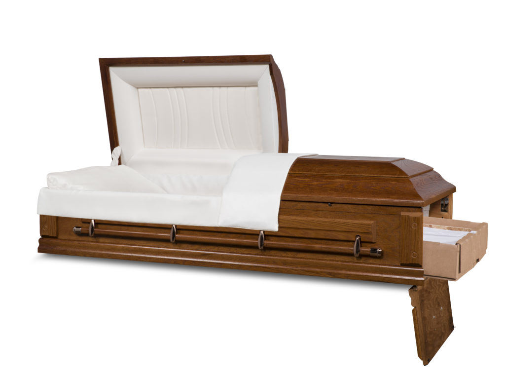 "OAKWOOD 27"" Solid Wood Ceremonial Rental Casket"