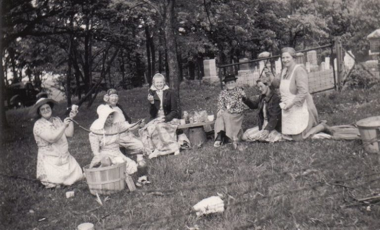 Cemetery picnic in late 1800s