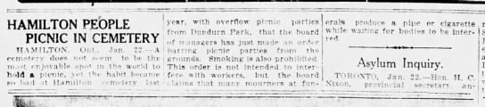 1912 newspapre story about cemetery picnic