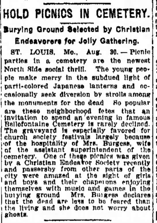 1917 newspaper article about cemetery picnic