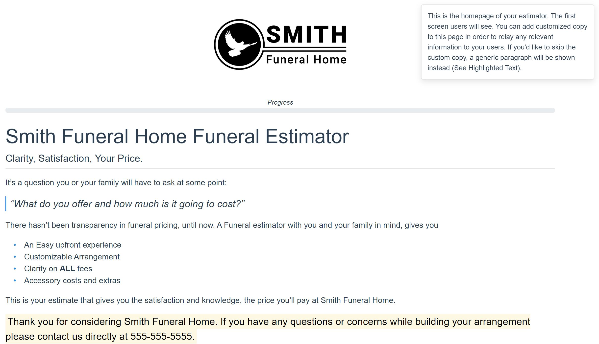 Price My Funeral Home Page