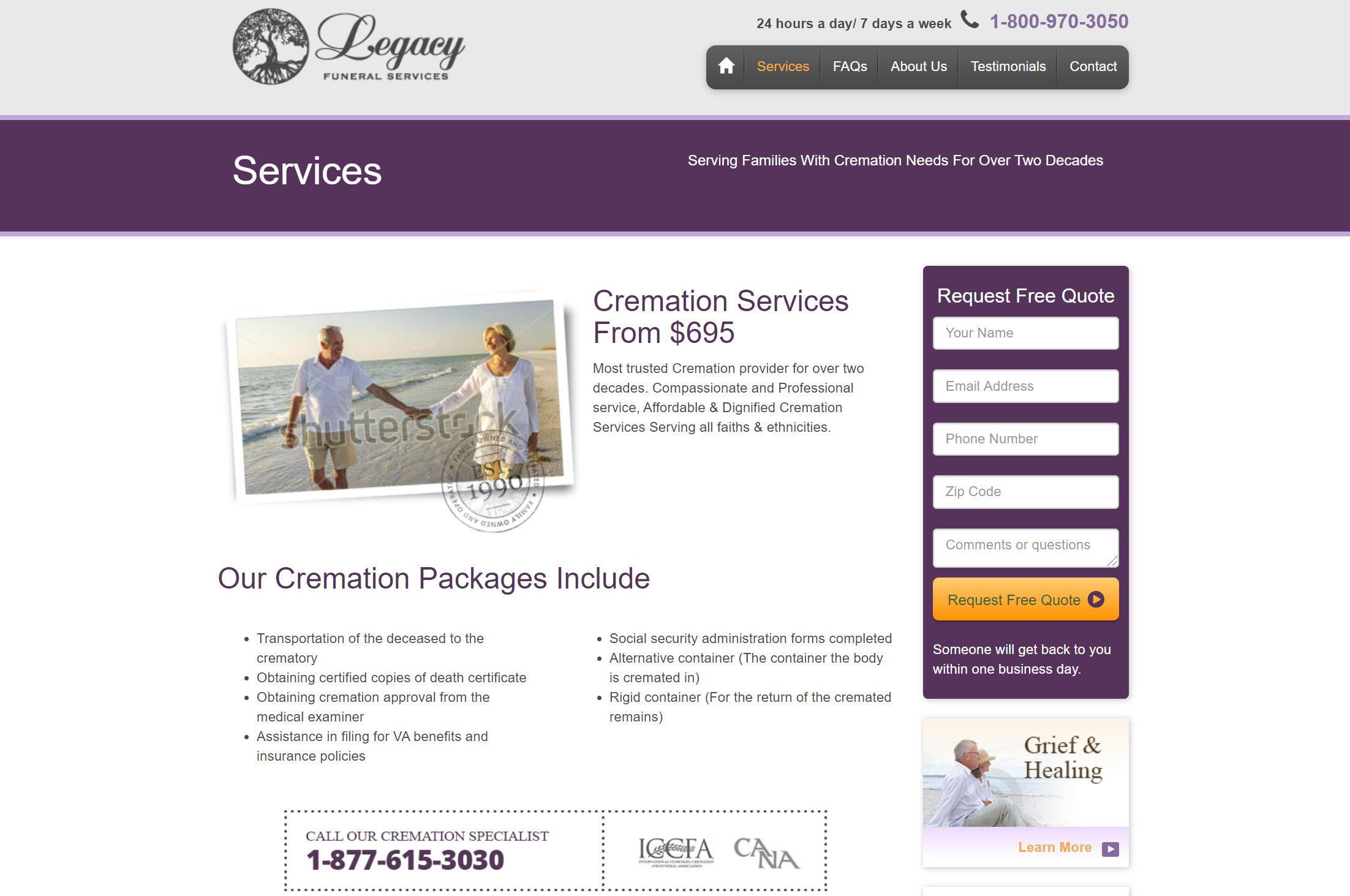 Legacy Funeral Services website