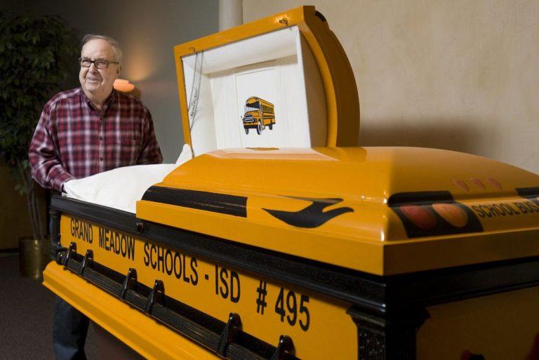 Davis with his school bus casket