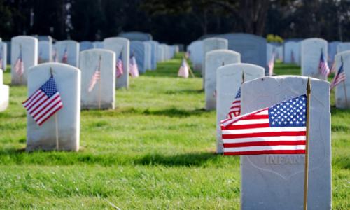 Memorial Day flags at veterans cemetery