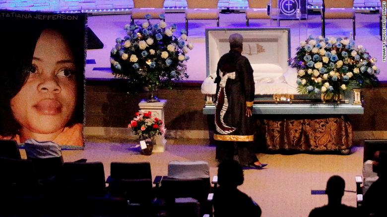 Mourner at Atatiana Jefferson's funeral