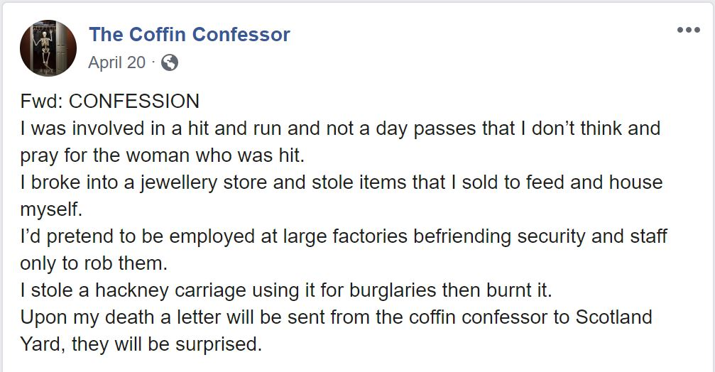 Coffin Confessor FB Post
