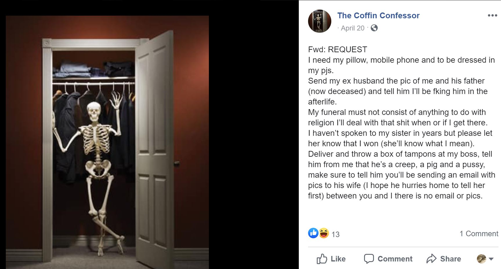 Coffin Confessor Facebook Post