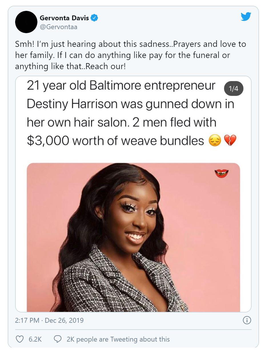 Destiny Harrison tweet from celebrities boxer