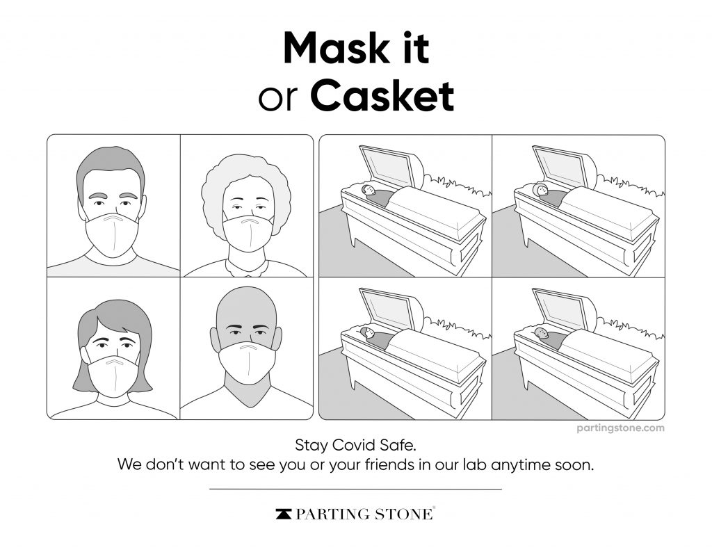 Mask-it or Casket - COVID-19 Poster - Parting Stone