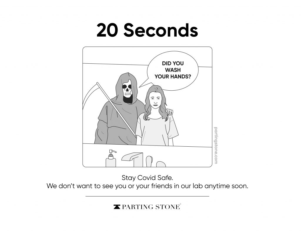 Wash your hands for 20 seconds -COVID-19 Poster - Parting Stone