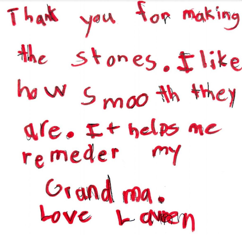 Parting Stone letter from a family