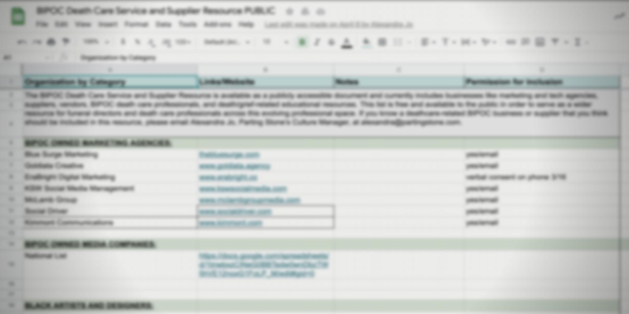 Deathcare BIPOC Supplier Resource